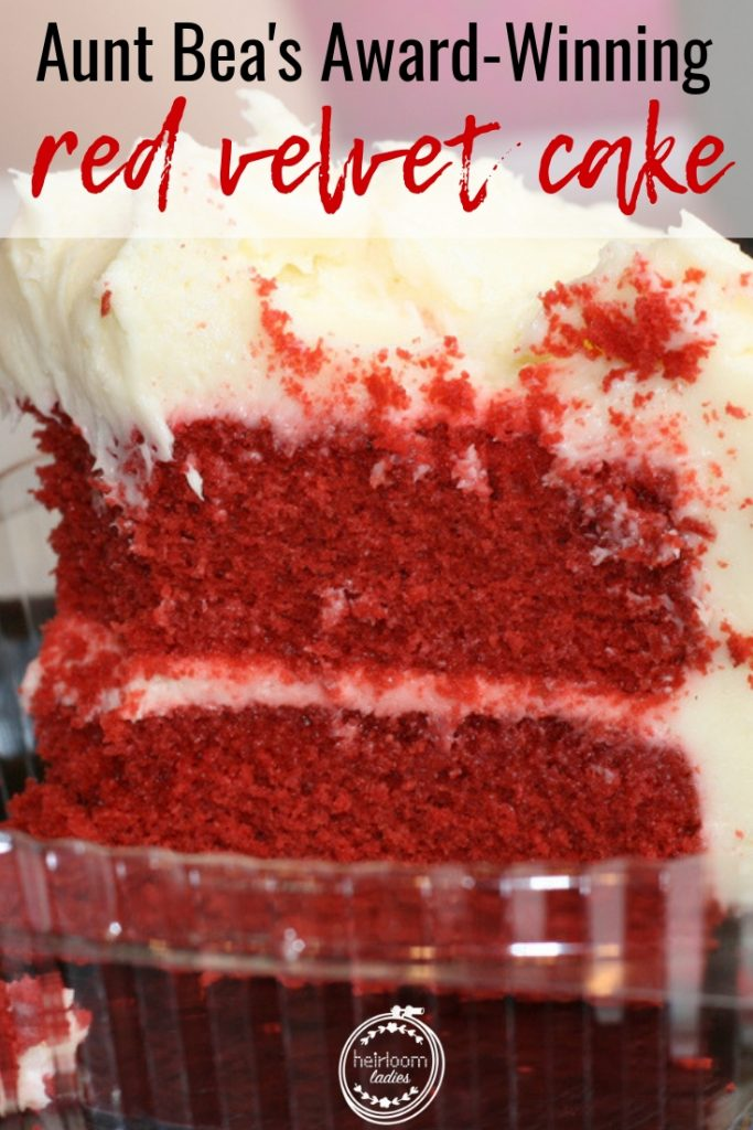 This red velvet cake is moist, fluffy and perfect! My Aunt Bea's prized recipe, this cake has lots of special memories attached to it. #redvelvet #cakerecipe #cake #baking